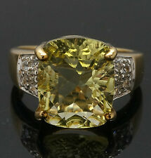 9ct Gold Lemon Citrine (4.35ct) Solitaire Ring w/ White Topaz Accents (Size N)