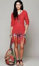 Free People Fringe Hooded Pullover Sweater Santa Rosa Cherry Red Boho Hippy XS