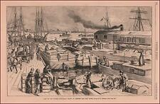 Canal Boats in Winter, East River, New York, antique engraving, original 1884