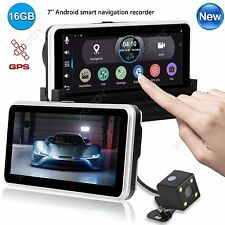 "New 7"" HD 1080P Wifi Android Car DVR Dual Lens Rearview Camera GPS Navigation"