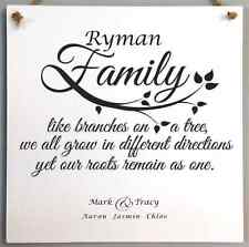 110 Personalised Family Tree Name Plaque - bespoke hand made family wall sign