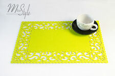 PAIR of Lime Green Felt Placemat Table Mat Openwork Design