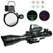 Tactical 4-12X50EG R&G Illuminated Rifle Scope w/4 Reticle Sight & Red Laser JG8