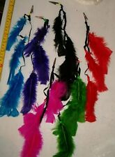 12 BRAND NEW COLORFUL FEATHER CLIPS,ROACH CLIPS ,POW WOW SUPPLIES,HEAD DRESS