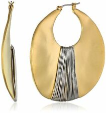 KENNETH COLE  NEW YORK Gold-Tone Shell Drop Hoop Earrings