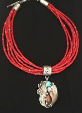 Navajo Sterling Silver  Coral Bead Necklace /    Turquoise Pendant