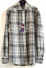 £ 895 Ralph Lauren Purple Label ITALIA ASTON cashmere Plaid Camicia Taglia 15 NUOVO