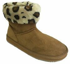 New Womens Winter Boots Faux Suede Shearling Cuffed Animal Print Fur Ankle Sizes