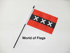 "AMSTERDAM SMALL HAND WAVING FLAG 6"" x 4""  Holland Netherlands Crafts Display"