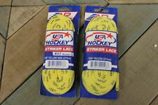 "A&R Striker Ice Hockey Skate Laces Waxless Heavy Duty Lace Yellow 108"" 2 Pairs"