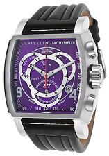 20240  Invicta Men's S1 Rally Chronograph Purple Dial Black Leather Strap Watch