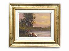 Dipinto Olio su Tela con Cornice - 32x37 cm - Paesaggio di Campagna - Quadro
