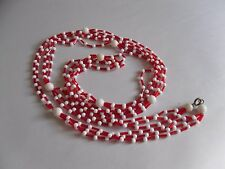 Long Vintage Necklace in Red & White Plastic Bead Combination. 1970s Elegance