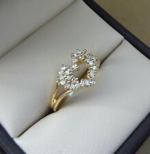 SPARKLING 14K YELLOW GOLD .58 TCW ROUND DIAMOND CLUSTER OPEN HEART RING - 3 GRAM