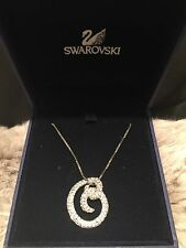 Swarovski Clear Crystal Silver Twisted Loop Pendant Necklace Retired New