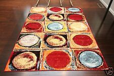 5 x 8 NEW Red Silver Modern Contemporary Floral Orange Yellow Wool Area Rug 5x8