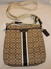 NWT Coach Signature Stripe 6 cm N/S Crossbody Swingpack Purse - 51163 Mahogany