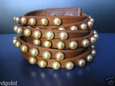 WHITE MOCHA BUTTON PEARL BROWN LEATHER BRACELET DESIGNER GIFT HONORA