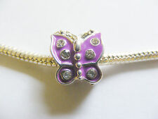 1 Silver Plated Enamel Butterfly Charm Bead for European/Charm Bracelet - Purple