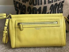 NWT Coach Legacy Leather Large Clutch Wristlet Brass Lemon Yellow 48021