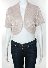 Alex Evenings Pink Lace Overlay Cropped Short Sleeve Jacket Size 14 New JG330