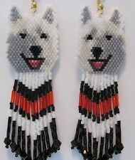 Laughing White Wolf, Malamute  Husky Dog earrings with red and black  fringe