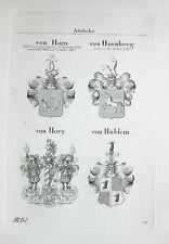 1836 4 Wappen von Horn Hornberg Hory Hüblein Kupferstich Tyroff