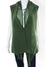NWT ELIZABETH AND JAMES Olive Green Mona Hooded Collar Vest Sz XS