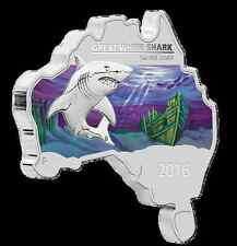 Australia - 2016 - Map Shaped Coin Series - GREAT WHITE SHARK 1oz Silver Coin