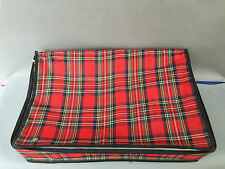 Ancienne valise de voyage tissu écossais vintage french antique suitcase