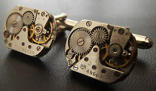 UNIQUE WATCH MOVEMENT CUFF LINKS MEN'S STEAMPUNK VINTAGE SILVER WEDDING GIFT SET