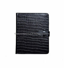New iPad 2 3 & 4 Black Croc Print Luxury Real Genuine Leather Cover Case Stand