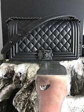 NWT CHANEL 2017 SO BLACK Boy Bag IRIDESCENT Caviar Lamb Lambskin Old Medium 17S