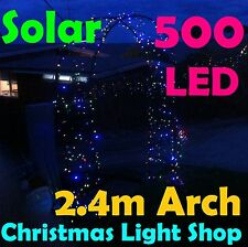 Garden Arch & Solar 500 LED MULTICOLOUR Flashing Fairy Christmas Outdoor Lights