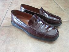 Womens TOD'S burgundy Patent Leather Driving Shoes Moccasins Flats Loafers 7 EUC