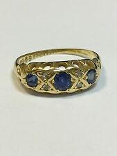 Antique 18 Carat Gold TRADITIONALLY SET DIAMOND & CEYLON SAPPHIRE RING Ches 1906