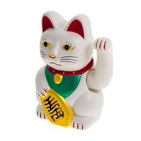 Winkende Katze Winkekatze Glücksbringer Glückssymbol Deko Maneki Neko 16cm weiss