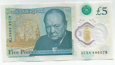 Bank of England new £5 Circulated CHURCHILL Polymer Banknote AC54 596078