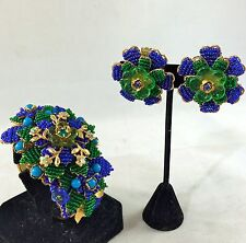STANLEY HAGLER NYC VINTAGE GOLD TONE BLUE/ GREEN FLORAL BRACELET/ EARRINGS SET