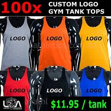 100 x CUSTOM LOGO PRINTED GYM TANK TOP - wholesale singlet workout screen
