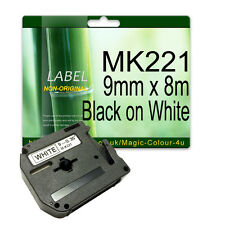 1 Compatible Brother Tape M-K221 MK-221 For P-Touch 9mm x 8m Black on White