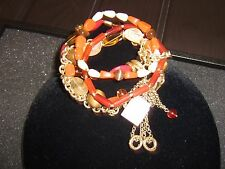NWT Lia Sophia Fiesta Multi Strand Stretch Bracelet red/ o Beige Dangling Charms