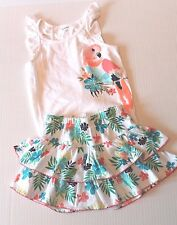 Gymboree Sunny Safari Bird Tank Shirt & Floral Skirt Skort Outfit Girls Size 5