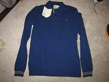 "NEW NWT Fred Perry Bradley Wiggins ""Cycling Shirt"" Long Sleeve S Medieval Blue"