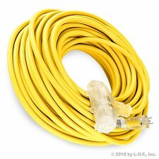 100 ft Electric Extension Cord 3 Plug Light 12/3 Indoor Outdoor Ylw Heavy Duty