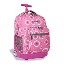 Rolling Wheeled Backpack for School Travel Book bag Luggage Carry New Pink Targe