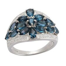 Natural Paraiba Apatite Blue color cluster & Topaz 925 Sterling Silver ring