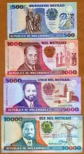 SET Mozambique, 500;1000;5000;10000 meticais, 1991, Picks 134-135-136-137 UNC