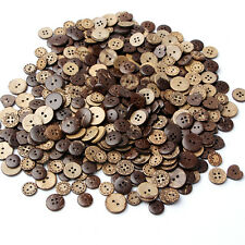 50pcs/lot Useful Round Natural Wooden 4 Hole Sewing Brown Coconut Shell Buttons