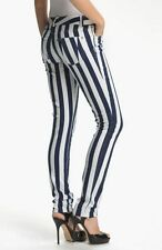 ALICE & OLIVIA by Stacey Bendet NAUTICAL Blue White STRIPES Denim JEANS 6 $197